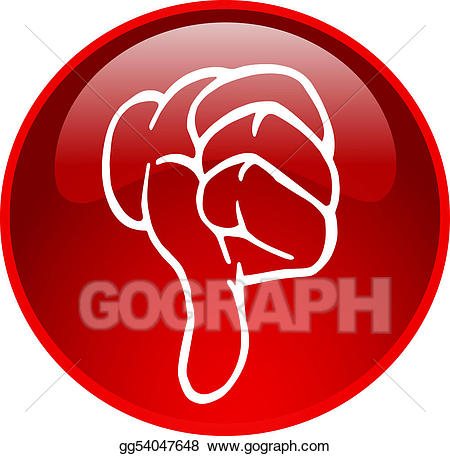Red thumb down gg. Button clipart drawing