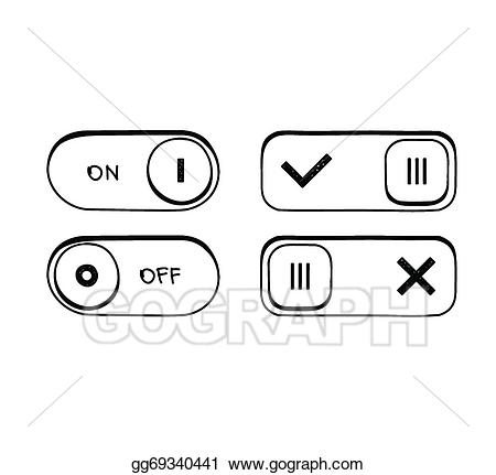 Button clipart drawing. Vector art hand draw