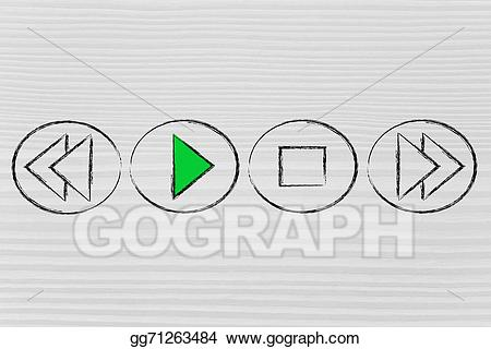 Stock illustration press play. Button clipart drawing