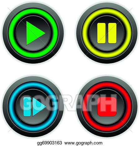 Vector art play pause. Button clipart drawing