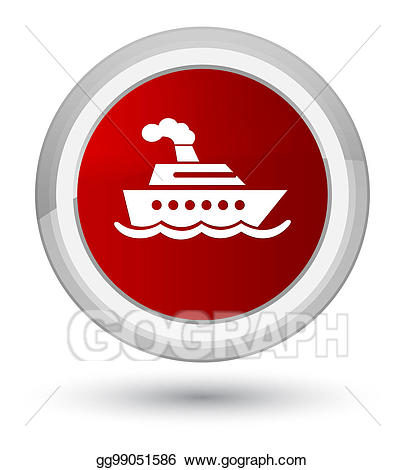 Stock illustration cruise ship. Button clipart drawing