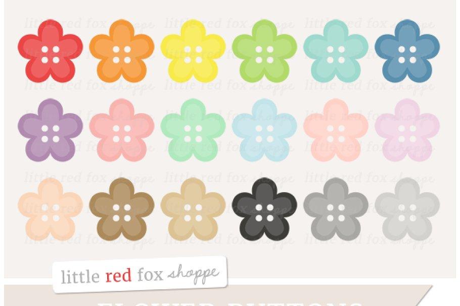 . Button clipart flower