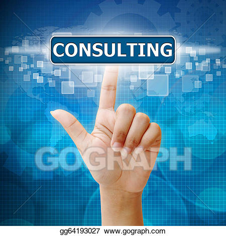 Press on consulting stock. Button clipart hand