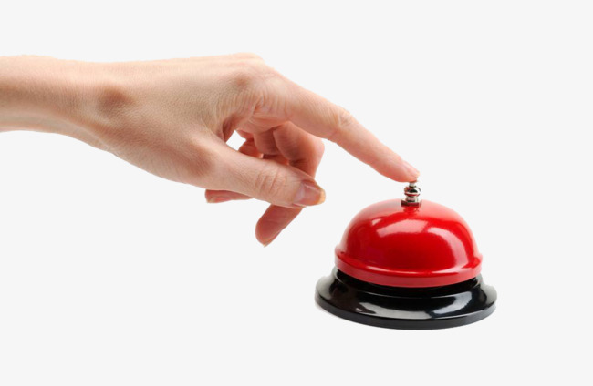 Push the red by. Button clipart hand