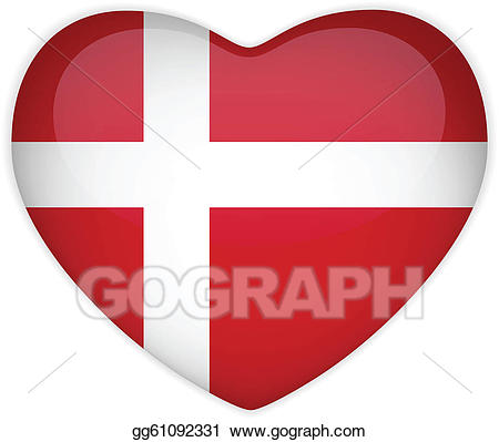 Vector art denmark flag. Button clipart heart