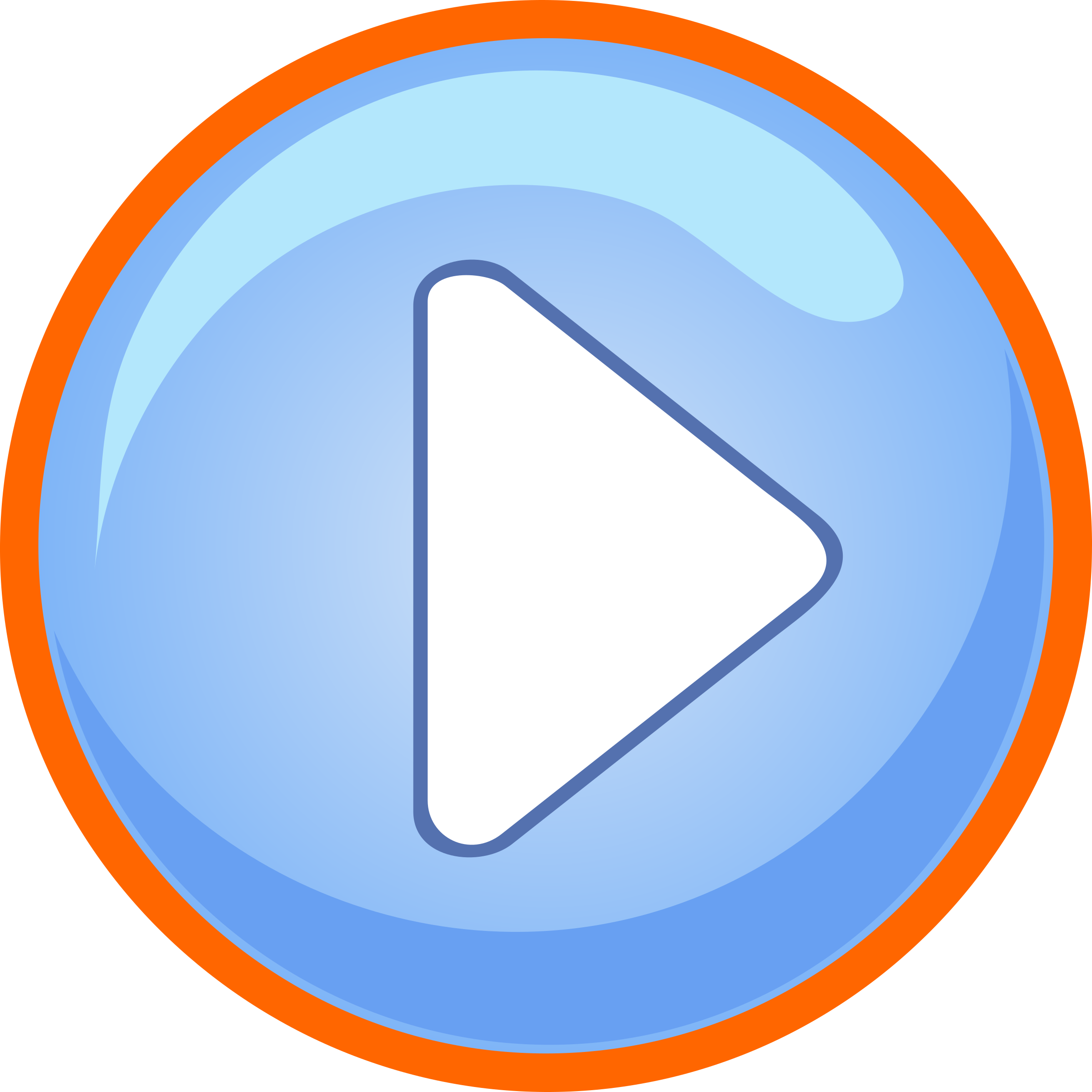 Blue play button with. Focus clipart keeping