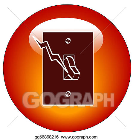 Stock illustration red web. Button clipart light switch