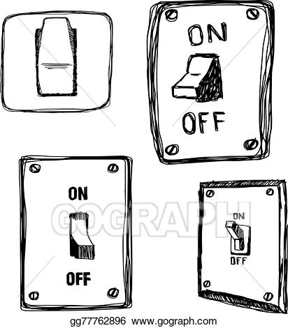 Vector illustration doodles single. Button clipart light switch