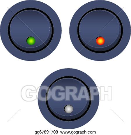 Button clipart light switch. Vector on off illustration
