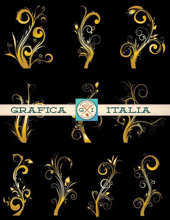 Gold floral swirls digital. Button clipart ornamental