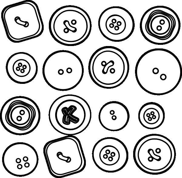 Button clipart outline. Sixteen buttons clip art