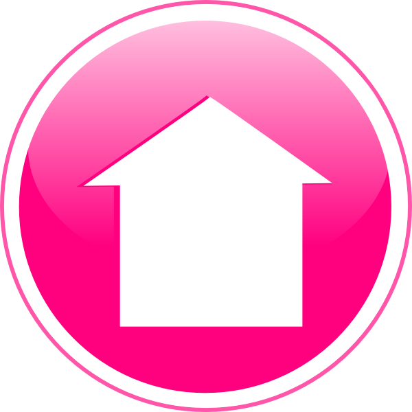 Glossy icon button clip. Home clipart pink