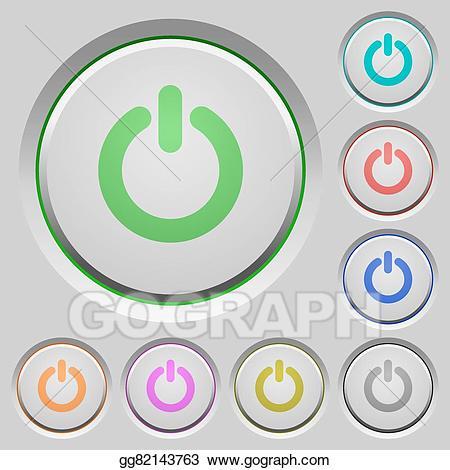 Button clipart power switch. Vector art push buttons