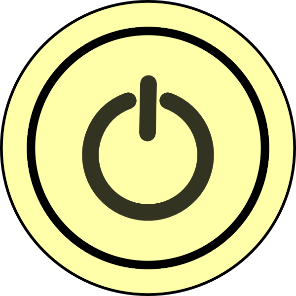 Button clipart power switch. On yellow background clip
