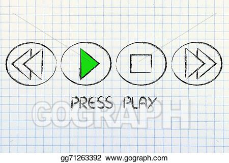 Stock illustration play music. Button clipart press