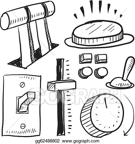 Button clipart sketch. Eps illustration levers and