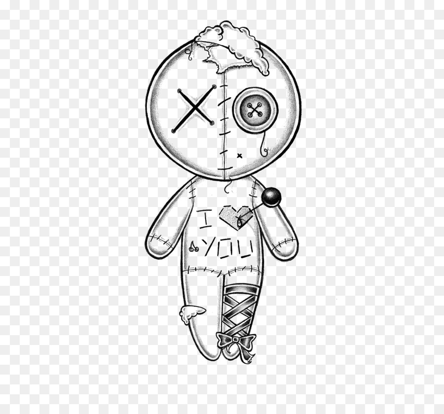 Drawing voodoo doll hand. Button clipart sketch