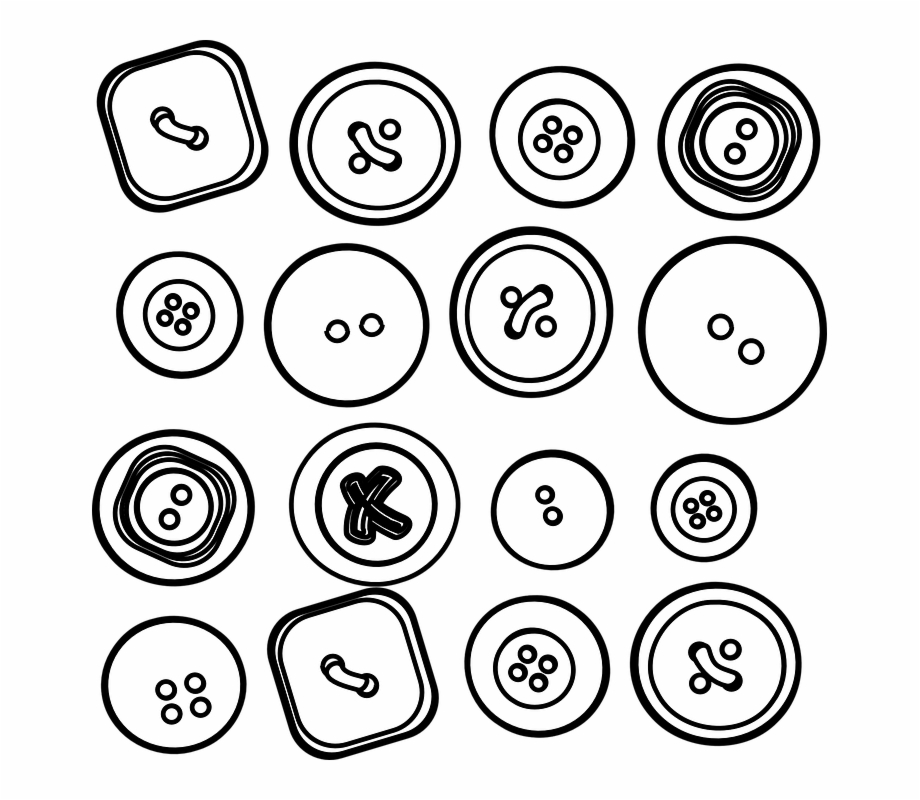 Button clipart sketch. Buttons black and white