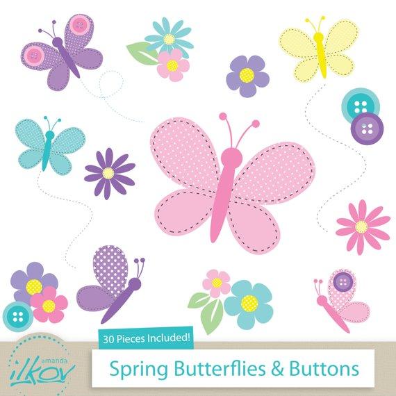Buttons clipart baby button. Spring butterflies for digital