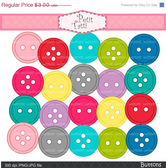 Buttons clipart craft. Items similar to on
