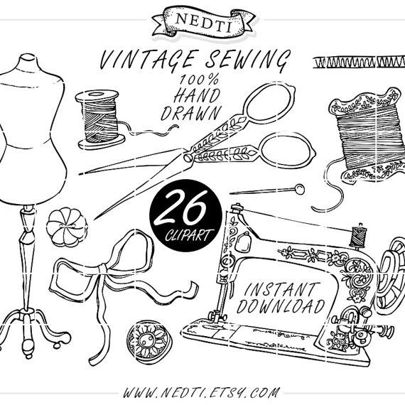 Vintage sewing fashion doodle. Buttons clipart drawing
