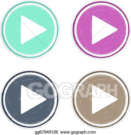 Vector drawn play button. Buttons clipart hand