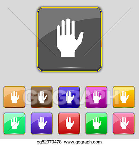 Buttons clipart hand. Stock illustration print sign