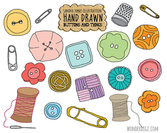 Drawn clip art sewing. Buttons clipart hand