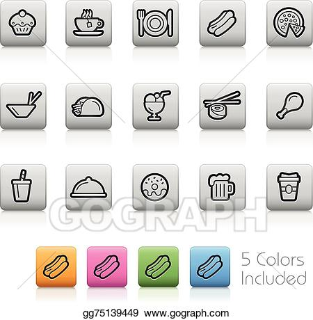 Buttons clipart outline. Vector art food drink