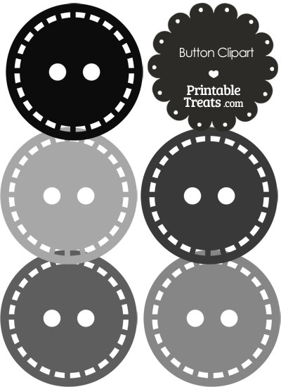 In shades of grey. Button clipart printable