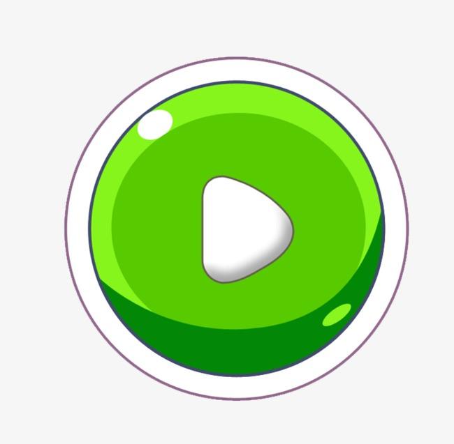 Green start round png. Button clipart boton