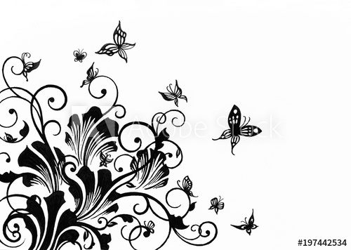 Buy clipart black and white. Hand drawn floral design