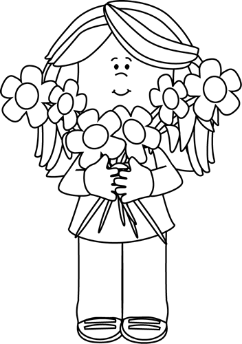 Girl holding a bunch. Buy clipart black and white