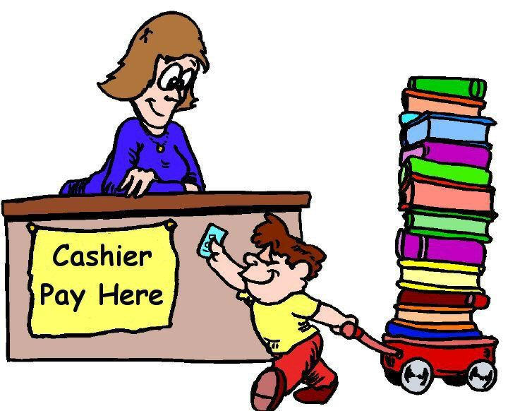 Cashier clipart school cashier. Library book sale