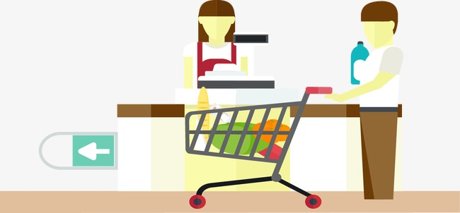 Cashier clipart table. Vector shopping cart checkout