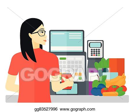 Vector art at checkout. Cashier clipart cashier supermarket