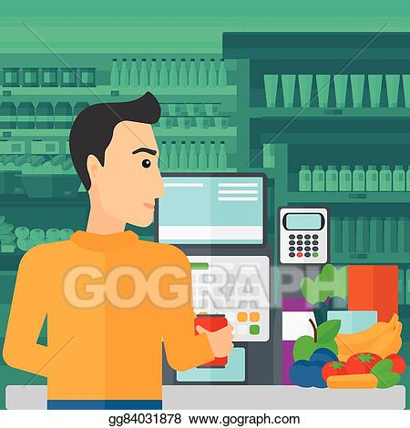 Buy clipart checkout counter. Vector art cashier at