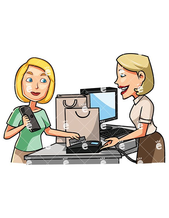 Cashier clipart card payment. A female consumer paying