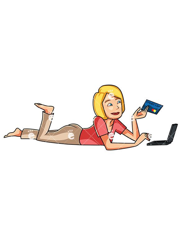 A woman shopping online. Buy clipart customer buying