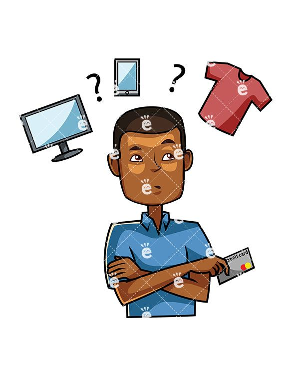 Buy clipart customer buying. A black male consumer