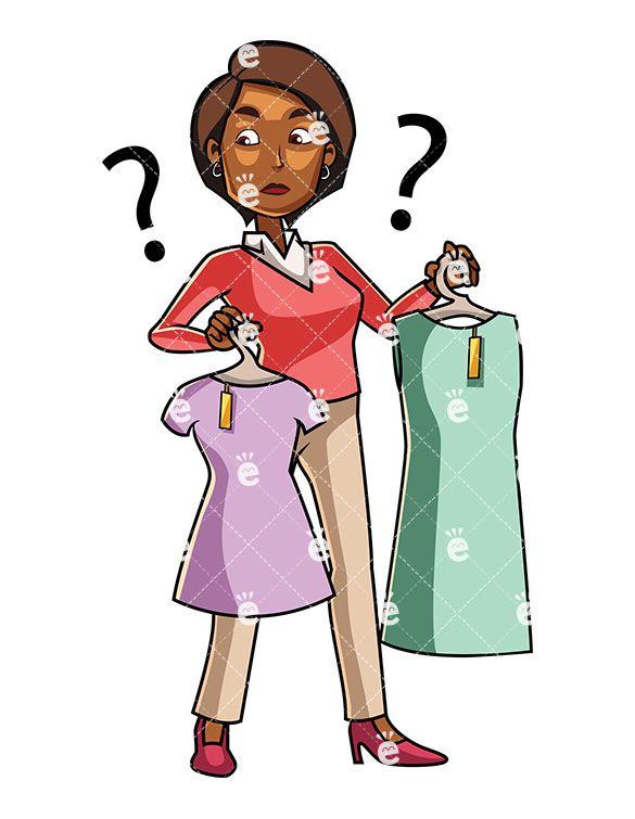 Buy clipart customer shopping. A black woman choosing