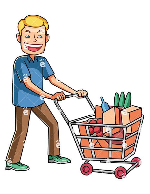A man pushing cart. Buy clipart customer shopping