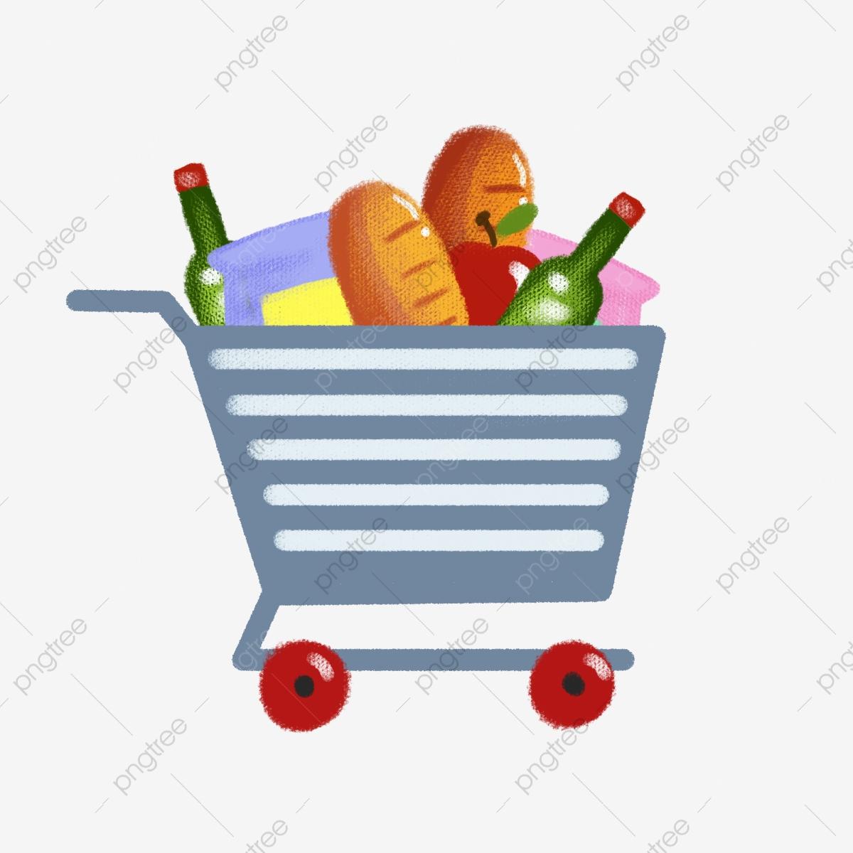 Cartoon supermarket to cart. Buy clipart food shopping