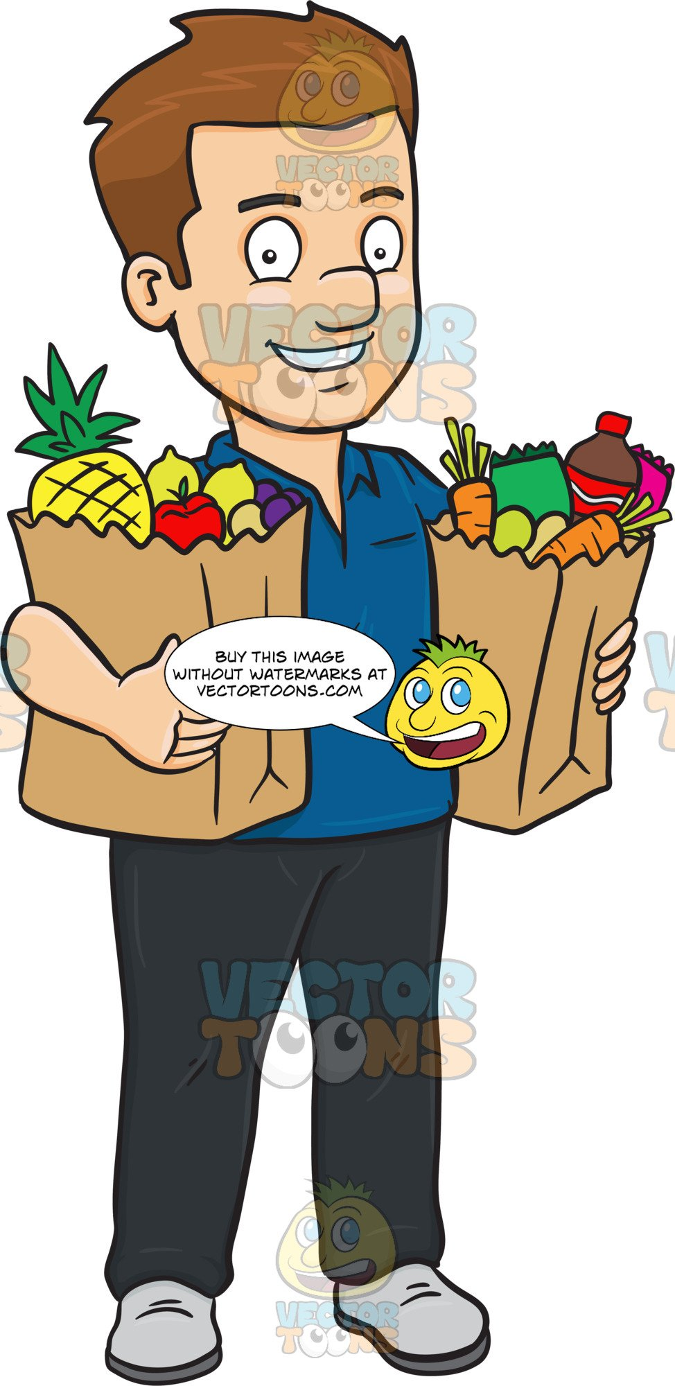 Buy clipart food shopping. A man looking fulfilled