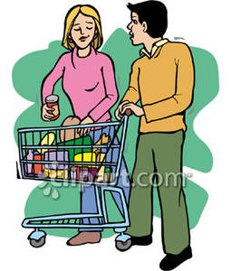 Buy clipart food shopping. A man and woman