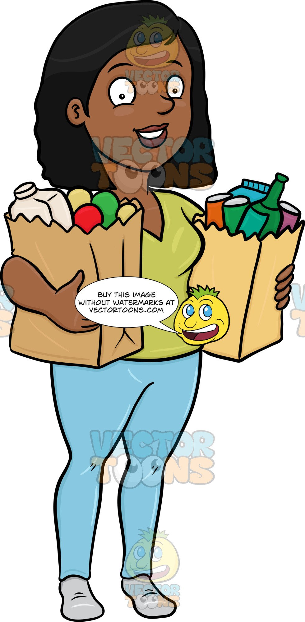 A black woman looking. Buy clipart food shopping