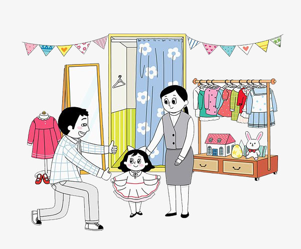 Buy clipart going to store. Clothes for children child