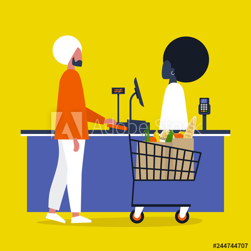 Buy clipart going to store. Cashier grocery a client