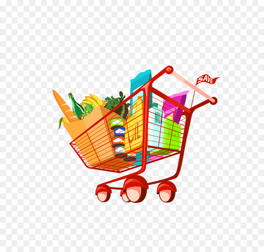 Shopping cart grocery food. Buy clipart going to store