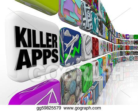 Stock illustration killer apps. Buy clipart going to store